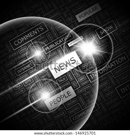 NEWS. Background concept wordcloud illustration. Print concept word cloud. Graphic collage with related tags and terms. Vector illustration.