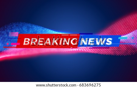 News background tag. Modern futuristic breaking news title template with abstract vector red and blue light effect on black backdrop for TV news screen