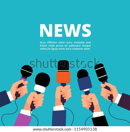 News concept with microphones. Broadcasting, interview and communication vector banner with handa holding microphones. Illustration of microphone for news, broadcasting live news