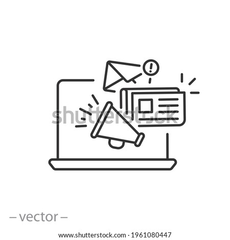news content icon, share media latest, social personal blog, latest information, megaphone announce, thin line symbol on white background - editable stroke vector eps10