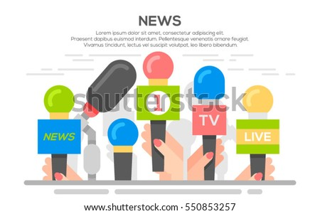 news flat banner poster. Set of microphone. Media tv and interview, information for television, broadcasting mass and communication, collection microphones in hand.