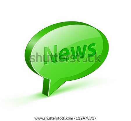 "News icon for blog. Glossy bubble with ""News"" text. Vector illustrations"