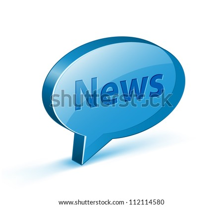 "News icon for websites or blogs. Glossy bubble with ""News"" text. Vector illustrations"