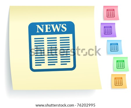 News Icon on Post It Note Paper Collection Original Illustration