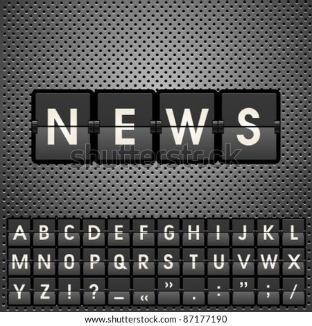 News information display board vector illustration with letters.  Graphic Design Editable For Your Design.