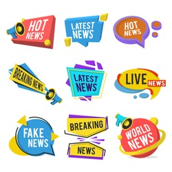 News labels flat icon collection. Breaking, latest, hot, world, sport and fake news titles vector illustration set. Newsletter, TV headline and typography concept