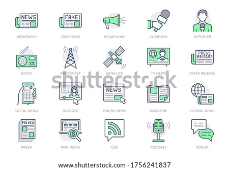 News line icons. Vector illustration included icon as newspaper, mass media, journalist, fake, television broadcasting outline pictogram for online press. Editable Stroke, Green Color. Photo stock ©