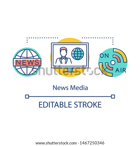 News media concept icon. Information agency. Live broadcast. Coverage of world events. Newscast. Broadcasting message idea thin line illustration. Vector isolated outline drawing. Editable stroke