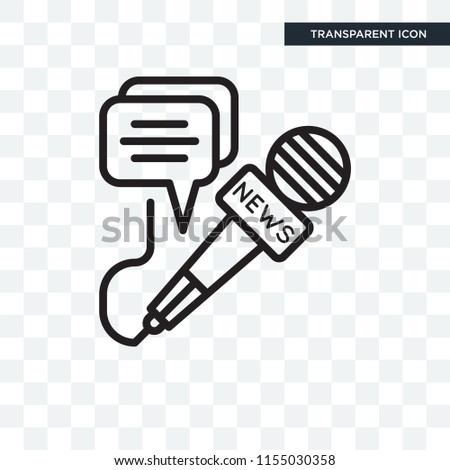 News microphone and speech bubbles vector icon isolated on transparent background, News microphone and speech bubbles logo concept