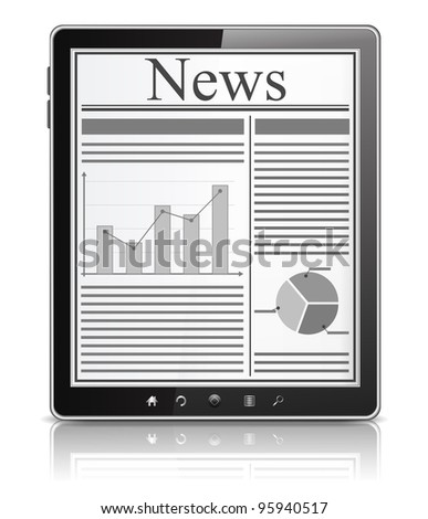 News on the screen of Tablet PC, vector eps10 illustration