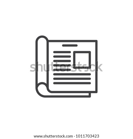 News, Open magazine line icon, outline vector sign, linear style pictogram isolated on white. Journal, newspaper symbol, logo illustration. Editable stroke