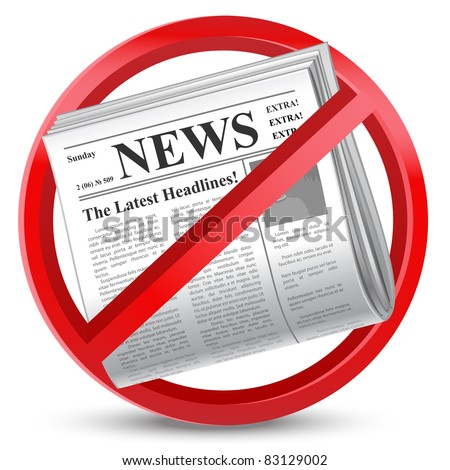 news paper forbidden red sign - stock vector