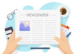 News paper or newspaper reading and holding man human hands above workplace table desk top view vector flat cartoon illustration, concept of daily news press read in coffee break or breakfast time