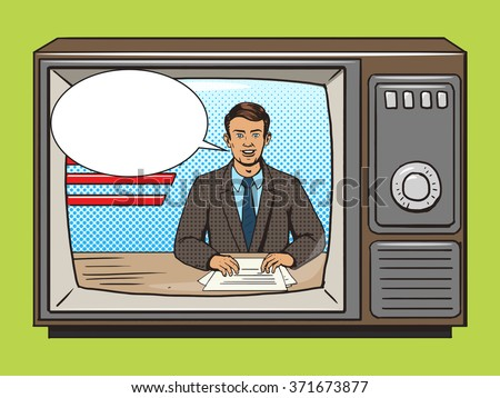 news presenter on tv pop art...