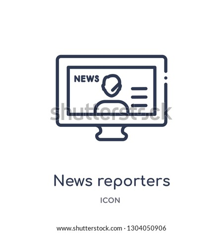news reporters icon from user interface outline collection. Thin line news reporters icon isolated on white background.