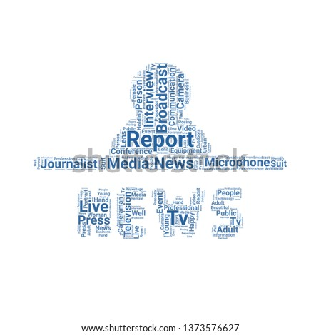 news reporters word cloud. tag cloud about news reporters