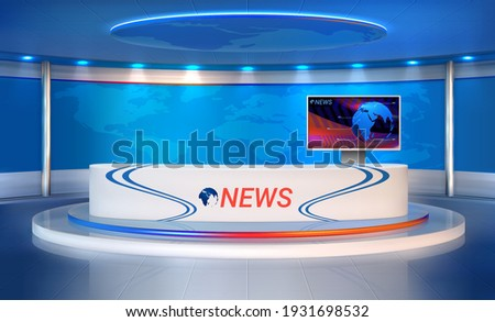 News room. Realistic studio for recording TV programs. 3D interior, newscaster's table and presentation monitor, spotlight and world map. Vector television broadcasting of live streaming reportage