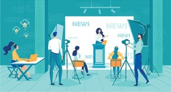 News Studio Vector Illustration. Woman Newscaster Read News Live. Tv Crew Filming on Camera. Professional Television Broadcasting Production. Journalist Reporter Work. Information Program