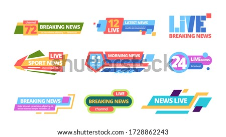 News title set. Web headline television online media information color bar, daily broadcast of news channel titles. breaking life, sports latest streaming digital during day. Vector flat banners. Сток-фото ©