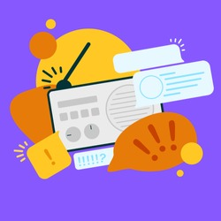 News update, flat vector design with modern elements isolated on bright background. Urgent news in popular media. Radio podcast with important information for people