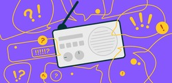News update, flat vector design with modern elements isolated on bright background. Urgent news in popular media. Radio podcast with important information for people.
