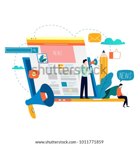 News update, online news, newspaper, news website flat vector illustration. Webpage, information about events, activities, company information and announcements