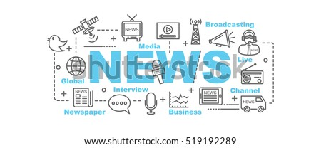 news vector banner design concept, flat style with thin line art news icons on white background