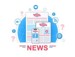 News vector banner design concept. Online news, newspaper, news website. Flat vector illustration.