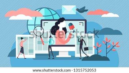 News vector illustration. Flat tiny TV and newsletter read persons concept. Business service to provide information using digital websites or paper press. Social broadcasting and journalism reports.