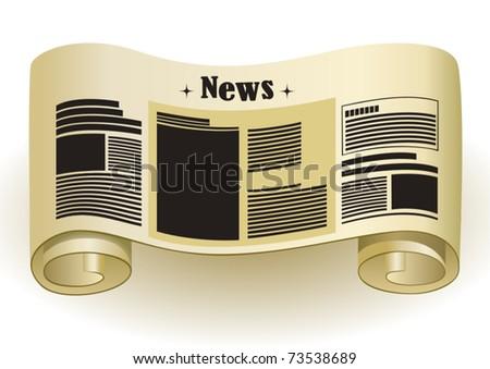NEWS - Vintage paper scroll, vector illustration