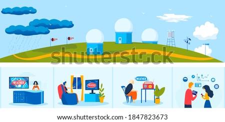 News weather meteorology service vector illustration. Cartoon flat people watching meteorologist tv radio program forecast, meteorological center station with weather measuring equipment background Stock fotó ©