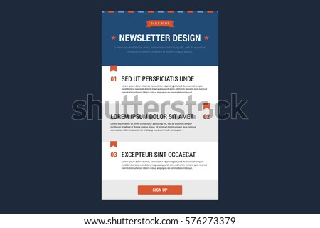 Newsletter design template. Vector illustration in flat style.