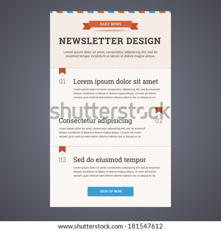 Newsletter template design with sign up button Vector illustration in flat style
