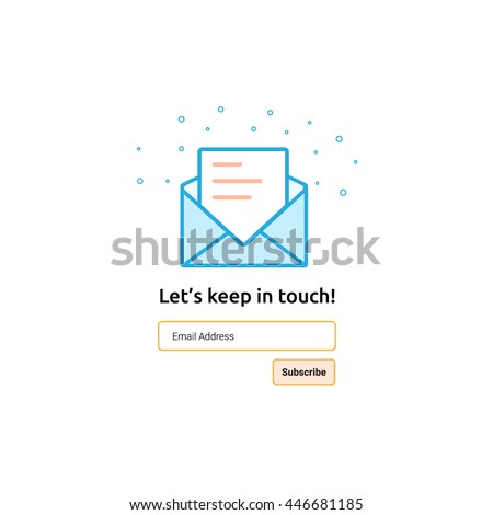 Newsletter template for web and mobile app using. Stroke style. Subscribe form