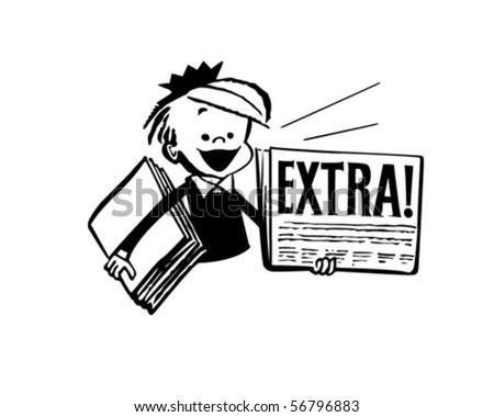 Newspaper Boy - Retro Clip Art