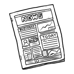 newspaper / cartoon vector and illustration, black and white, hand drawn, sketch style, isolated on white background.