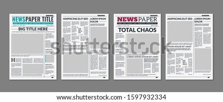 Newspaper column. Printed sheet of news paper with article text and headline publication design vector daily edition newsprint press templates