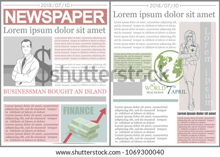 Blank Newspaper Mockup Design Template Download Free Vector Art