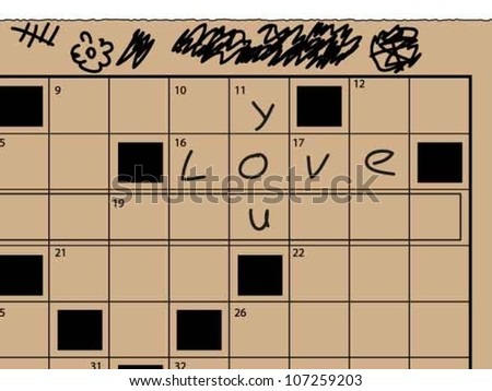 "Newspaper crossword part, with hand written ""love you"" letters"