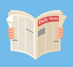 Newspaper. Daily news. Vector flat cartoon illustration