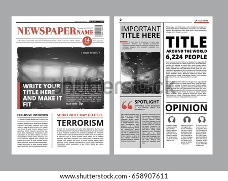 Newspaper Front Page With Several Columns And Photos Vector Magazine Cover Layout Design Project