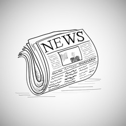 Newspaper hand-drawn. Doodle style newspaper illustration in vector format.