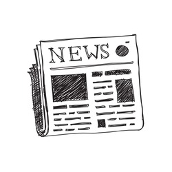 newspaper hand drawn icon. vector doodle illustration