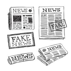 newspaper hand drawn icons set. fake news stamp, vector doodle illustration
