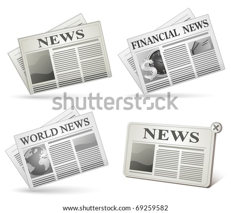 Newspaper icon set. Vector illustrations of newspaper.