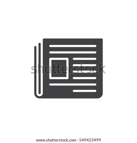 Newspaper icon vector, filled flat sign, solid pictogram isolated on white. News symbol, logo illustration