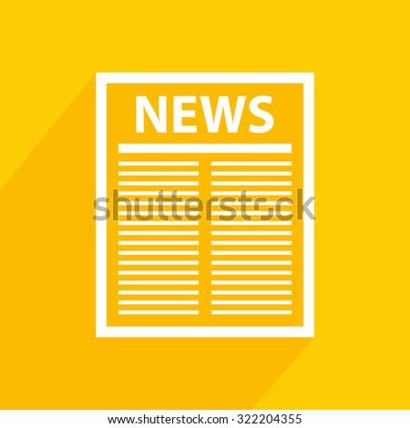 Newspaper icon with  shadow. Vector illustration.