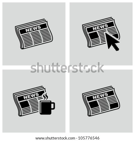 Newspaper icons set.