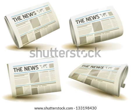 Newspaper Icons Set Illustration of a set of cartoon daily or weekly printed newspaper publication icons