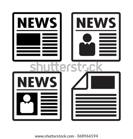Newspaper icons set, vector